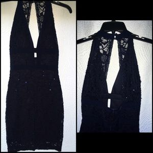 Dresses & Skirts - Navy Blue Sequin Fitted Dress